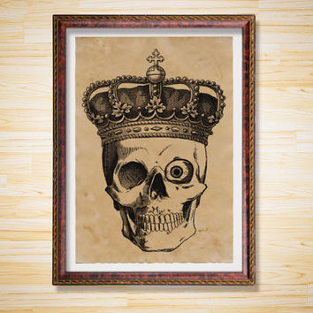 Skull print Anatomy decoration Crown poster