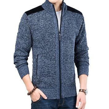 Mens Zipped Up Cardigan with Elbow Patch in Blue