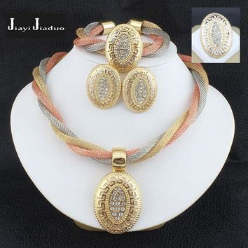 PEAP91W jiayijiaduo African beads Bridal Crystal Jewelry Sets Necklace Set for Womens clothing