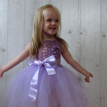 Lavender girls crochet  tutu dress , flower girl dress , Birthday party- with crochet flower detail