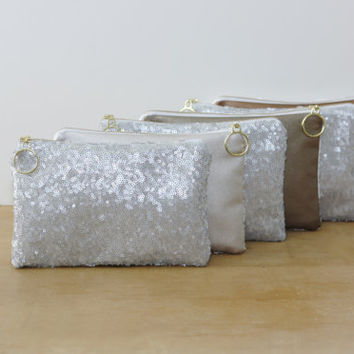 Sparkly Bridesmaid Clutch Bags in Gray Silver Sequins with Leather Back / Sparkly Bachelorette Favor / Bridal Shower Prize - Choice of Color