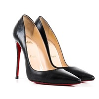 Louboutin Black Leather Pumps with Pointed Toe