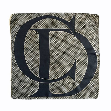CHRISTIAN DIOR!!! Vintage 1970s 'Christian Dior' black and cream square silk scarf with logo print