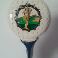 Vintage 80s Ceramic Golf Ball and Tee Sports Watch Clock by Ramar Industries