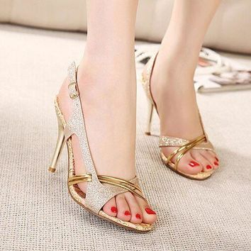 Fashion Women Sandal Thin High Heels Sandals Gold Ladies Summer Shoes Gladiator Heels