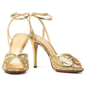 Metallic leather and mesh sandals | CHARLOTTE OLYMPIA | Sale up to 70% off | THE OUTNET