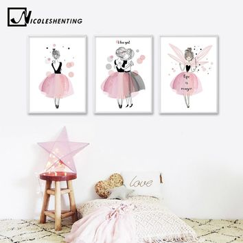 Watercolor Kawaii Cartoon Girl Posters and Prints Wall Art Canvas Painting Nordic Style Picture for Living Room Home Decor