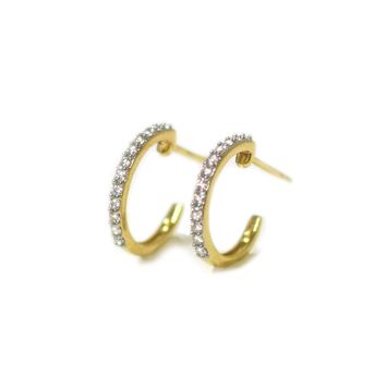 14kt Gold Diamond Half Hoops