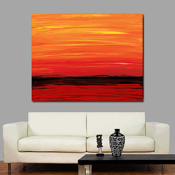 Red Orange Yellow Black Abstract Landscape Art Painting Sunset Sunrise Ruby Shore Ocean Water Modern Contempoary Large Canvas Ready To Hang