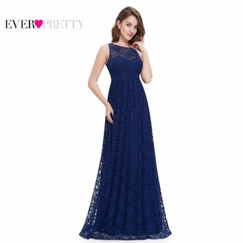 Navy Blue Prom Dresses Ever Pretty EP08824 2017 Elegant Formal A Line Floor Length Long Plus Size Lace Prom Dresses