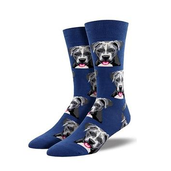 Novelty Socks PIT BULL BLUE Fabric Cotton Crew Dog Mnc1547 Blu