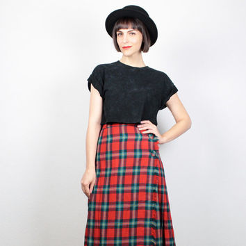 Vintage Red Tartan Plaid Skirt Midi Skirt Fringe Hem Pleated Kilt High Waisted Punk Knee Length Skirt 1980s 80s Uniform XS Extra Small S