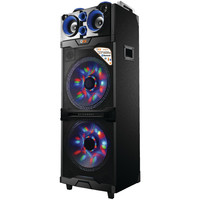"""Qfx Portable Bluetooth 2 And 15"""" Pa Speaker With Led Light Show (blue)"""