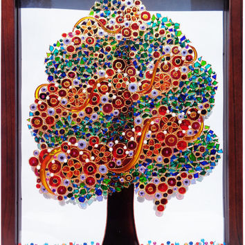 "Tree art 12""x15"" Glass painting Tree of life Family tree Painted glass Mosaic painting Bohemian decor Wall decor"