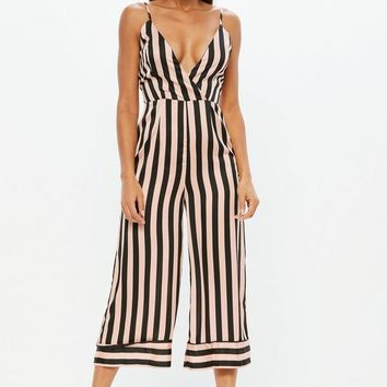 Missguided - Pink Stripe Cami Culotte Jumpsuit