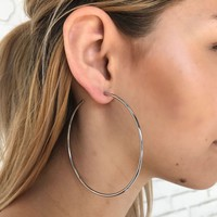 Kyra Oversized Hoop Earrings in Silver