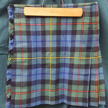 "Vintage Authentic Men's Wool Kilt ~Gow Hunting Ancient Tartan~ Small - Medium, 18.5"" long, Traditional Scottish Clan Plaid, Smith, Handmade"