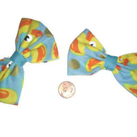 Rubber Ducky Bow, Blue hairbow, Duck hairbow, Easter gift ideas, rubber ducky, fabric bows, rubber ducky fabric