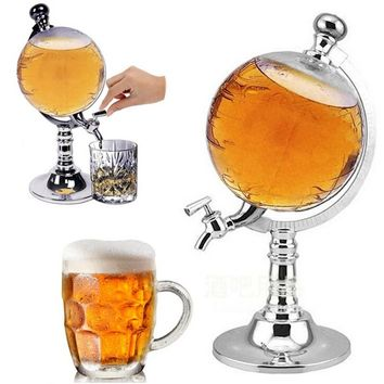 1 Liter Globe Shaped Beverage Liquor, Beer, Or Wine Dispenser