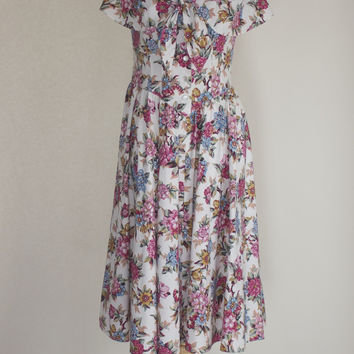 80s Floral Cotton Dress