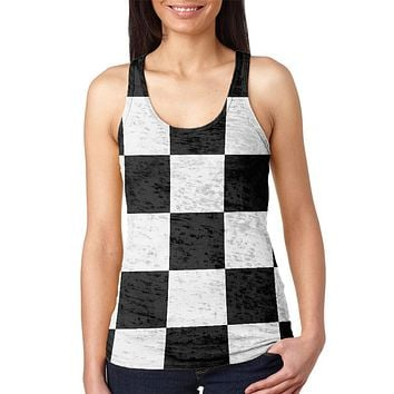 Finish Line Checkered Flag Juniors Burnout Racerback Tank Top