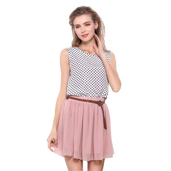 Summer Double-Layers Women Chiffon Tulle Skirts High Waist Girls Skirts Knee-Length Female Skirts WC0001