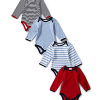 Starting Out Newborn-6 Months Striped Bodysuit 4-Pack - Blue
