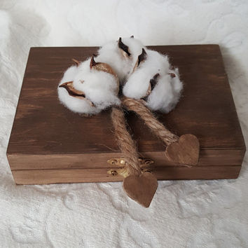 CIJ SALE Bohemian Rustic Stained Aged Woodland Cotton His Hers Divided Wedding Ring Bearers Box