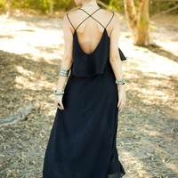 Open Back Cross Black Maxi Dress | SPREDFASHION