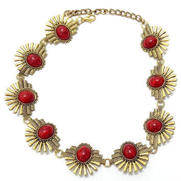 Red and Gold Floral Geometric Openwork Necklace