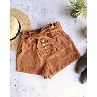 wild honey - hot shot button up corduroy shorts - camel