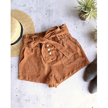 final sale - wild honey - hot shot button up corduroy shorts - camel
