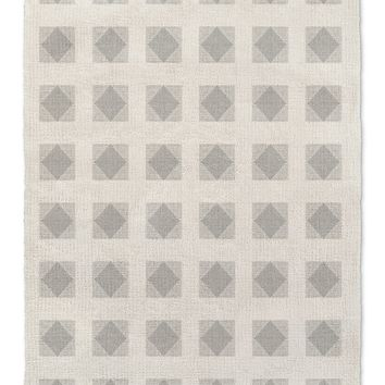 STRIPE DIAMOND BLOCK PRINT GREY Area Rug By Becky Bailey