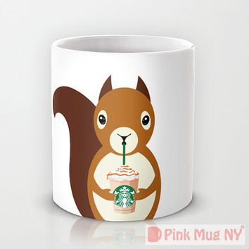 Personalized mug cup designed PinkMugNY - I love Starbucks - Squirrel