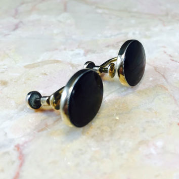 Vintage Onyx,Gold Onyx Earrings,Art Deco Onyx,Art Deco Earrings, 1930s Earrings,Black Vintage Onyx,Black Gold Earrings,Vintage Sterling