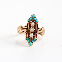 """Antique 14k Rose Gold Victorian Green & Blue Turquoise, Seed Pearl Ring - Vintage Late 1800s """"1882"""" Dated Size 7.5 Fine Statement Jewelry"""
