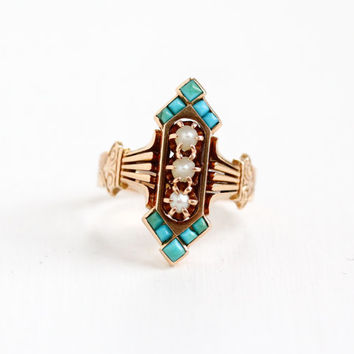 "Antique 14k Rose Gold Victorian Green & Blue Turquoise, Seed Pearl Ring - Vintage Late 1800s ""1882"" Dated Size 7.5 Fine Statement Jewelry"