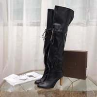GUCCI FASHION  Women leather black leather Autumn lace-up top high Heels Shoes Boots 20120 knight boot Winter best quality