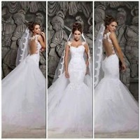 Tulle Lace White Mermaid Bridal Wedding Dress Custom Size 2 4 6 8 10 12 14 16