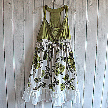 Women's Babydoll Dress / Upcycled Racerback Tank / Ladies Clothing / Junior's