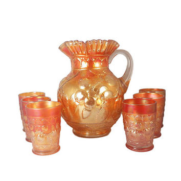 Vintage Fenton Golden Marigold Carnival Glass Apple Tree Pitcher Tumbler Water / Beverage Set - 1920s Complete 7 Piece Set