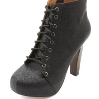 TEXTURED HIGH HEEL LACE-UP BOOTIES