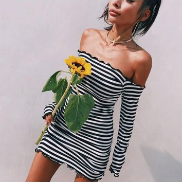 Black Striped Ruffle Bandeau Boat Neck Mini Dress