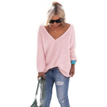 2016 Fashion Women Sweater Long Sleeve Knitted Pullover Loose Jumper Tops knitted sleeve Elegant loose v neck sweater