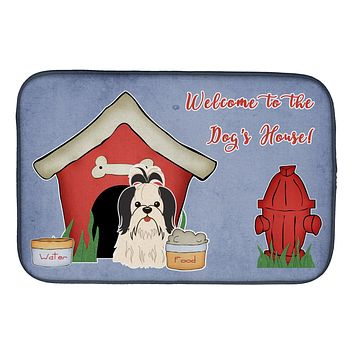 Dog House Collection Shih Tzu Black White Dish Drying Mat BB2842DDM