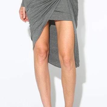 TWISTED ASYMMETRICAL MIDI SKIRT - GREY