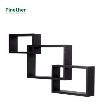 Finether 3-Piece Intersecting Rectangular Floating Wall Shelves Wall Mounted Bookcase Storage Display Organizer For Home Deco