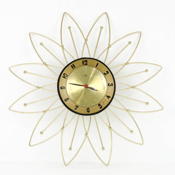 Vintage Starburst Wall Clock Gold And Black / Retro Mid Century Modern Decor