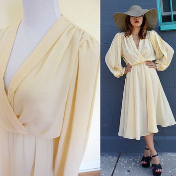 Vintage 70's sheer gracious eggshell nude cream creme dynasty day dress