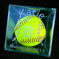 Personalized Softball Gameball Cube with Swarovski Crystal Bling Keepsake Memento Souvenir